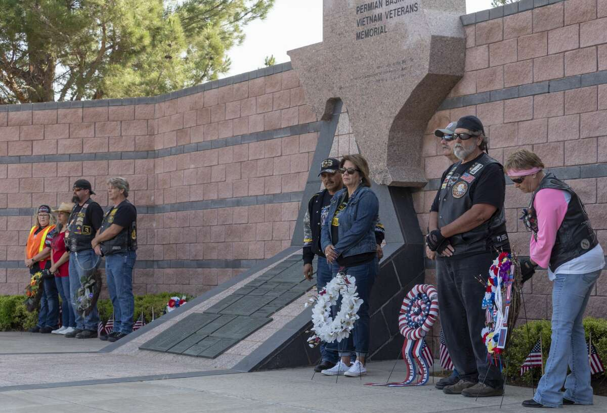 Wreaths are placed 05/27/19 by the Vietnam Memorial during the Memorial Day Ride to Remember at the Vietnam Memorial. Tim Fischer/Reporter-Telegram