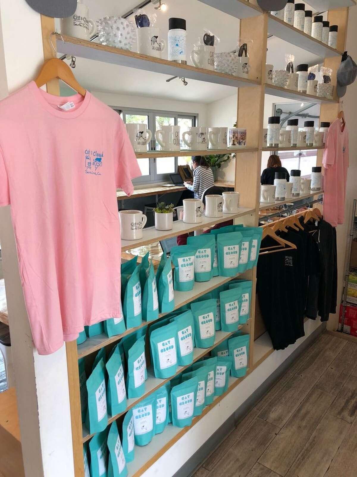 Merchandise at Cat and Cloud Coffee in Santa Cruz.