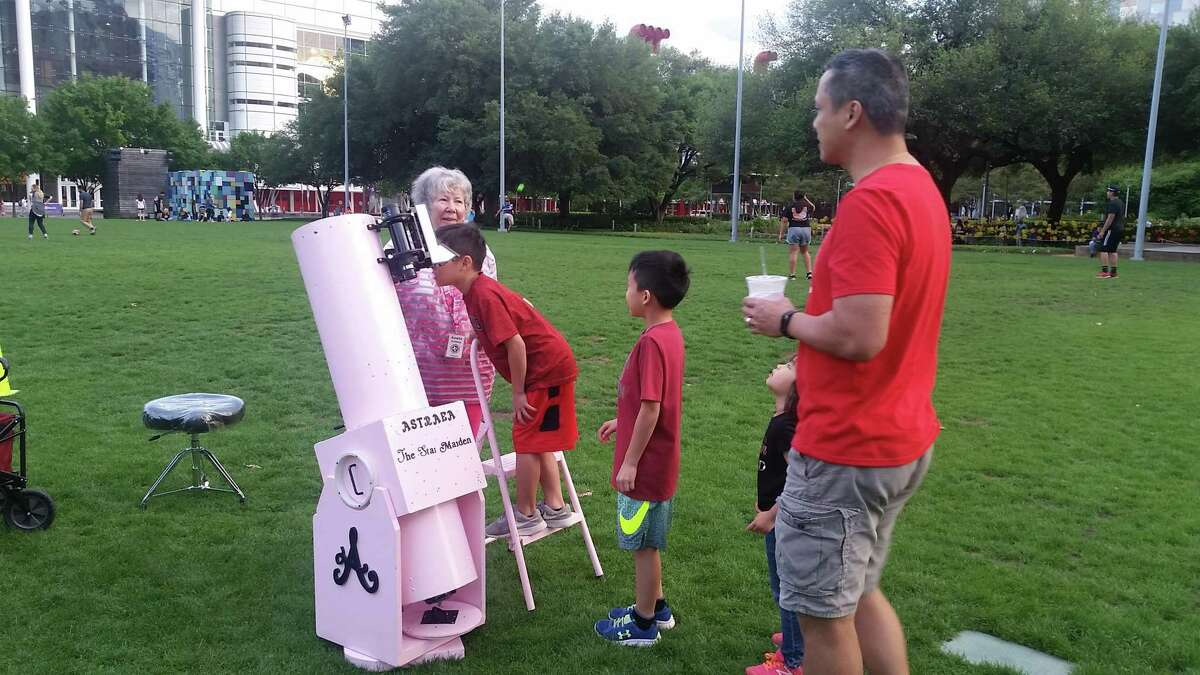 The Houston Astronomical Society hosts stargazing events at Discovery Green.