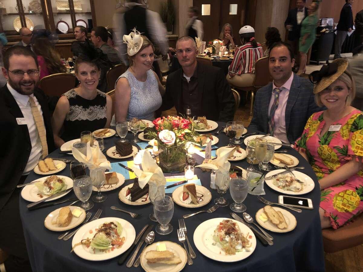 Jockeys and Juleps: Trevor and Lyndsay Freeman, from left, Brandy and Josh Wrangham, Garrett Melchiorre and Naomi Cobb
