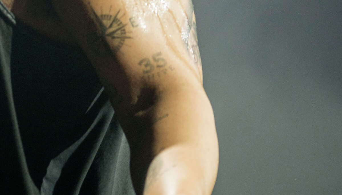 A close-up of rapper Drake's tattoo in honor of Kevin Durant.