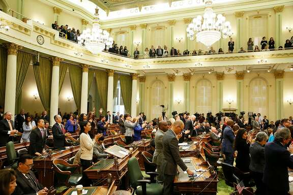 Members of the California Assembly in the State Capitol on Tuesday, Feb. 12, 2019, in Sacramento. Summer recess begins at adjournment on July 12, so members in both houses are striving to pass -- or kill -- bills.