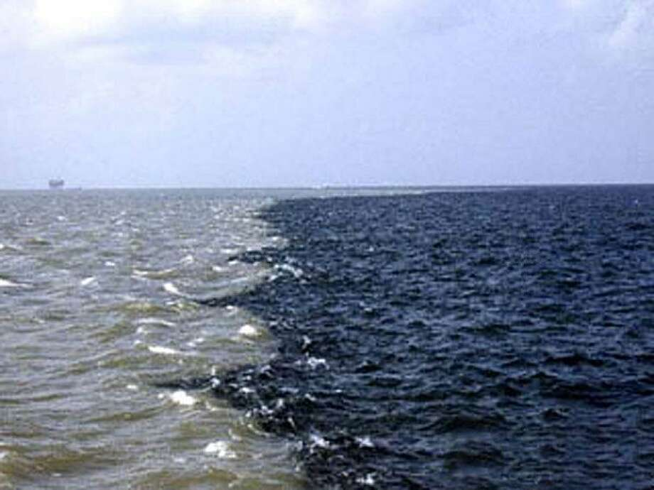 "Mississippi River water, left, meets Gulf of Mexico water off mouth of the Mississippi River at what's known as ""the rip."" The river water carries agricultural runoff from the Midwest causing the expanding dead zone in the Gulf of Mexico. photo provided by Nancy Rabalais Photo: Provided / Provided / Beaumont"