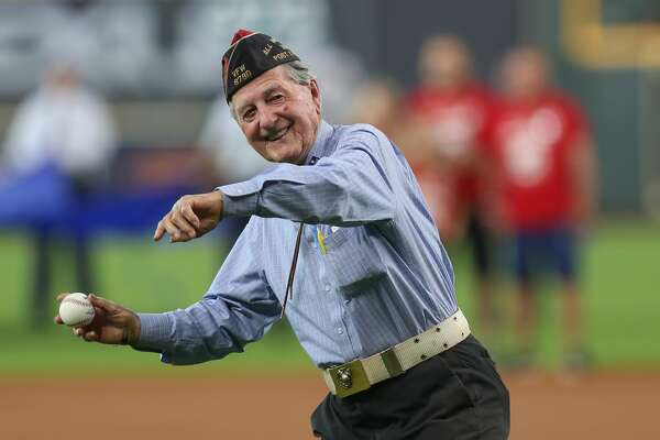 c83f1c04b805fa 2of36WWII Marine Bob Cook throws out the 1st pitch before a MLB baseball  game at Minute Maid Park Monday, May 27, 2019, in Houston.
