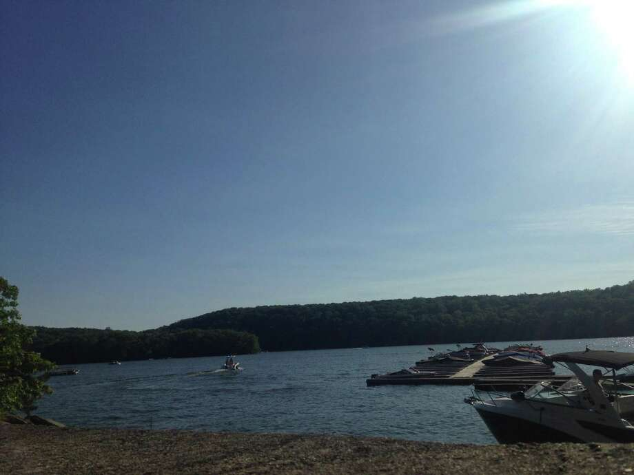 Officials are searching for a possible drowning victim at Candlewood Lake on Memorial Day 2019. Photo: Julia Perkins / Hearst Connecticut Media / The News-Times