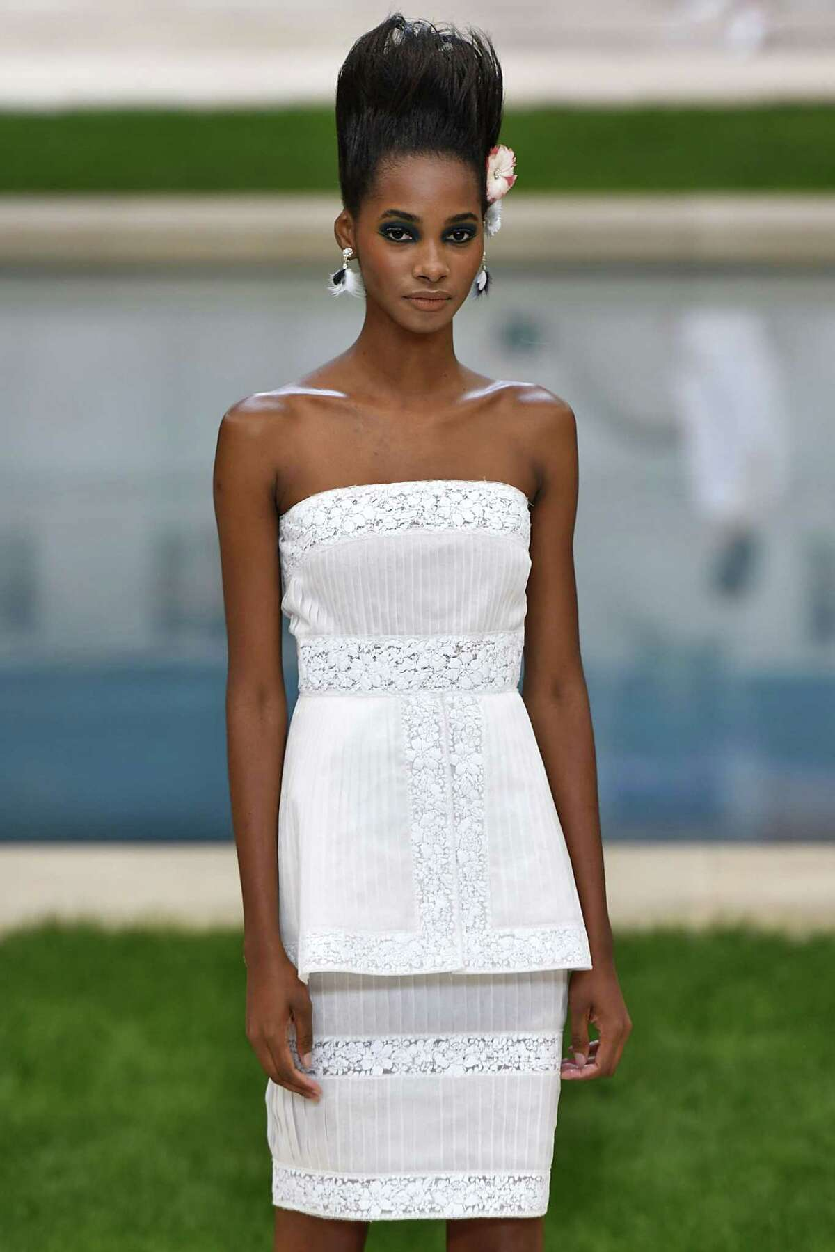A model walks the runway during the Chanel Haute Couture Spring Summer 2019 fashion show as part of Paris Fashion Week on January 22, 2019 in Paris, France.