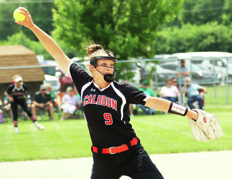 Calhoun pitcher Sydney Baalman delivers to the plate during her one-hit 1-0 shutout of top-ranked Windsor on Saturday in the Springfield Class 1A Super-Sectional. The Warriors advance to the state finals Friday in East Peoria. Photo: Greg Shashack / The Telegraph