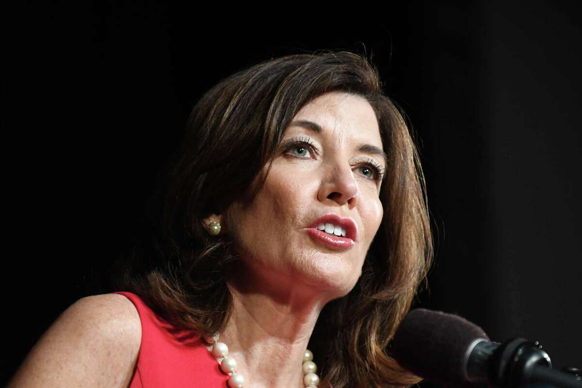 Lt. Gov. Kathy Hochul speaks during the Planned Parenthood lobby day event on Tuesday, March 12, 2019, at the Empire State Plaza Convention Center in Albany, N.Y. (Will Waldron/Times Union)