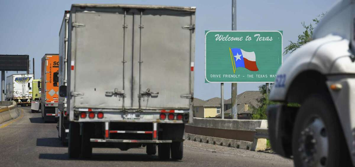 Tractor trailers cross the World Trade Bridge back into the United States from Mexico on Tuesday, May 21, 2019. Rapidly growing energy exports helped the Port of Laredo to overtake the Port of Los Angeles as the number one trade hub in the United States.