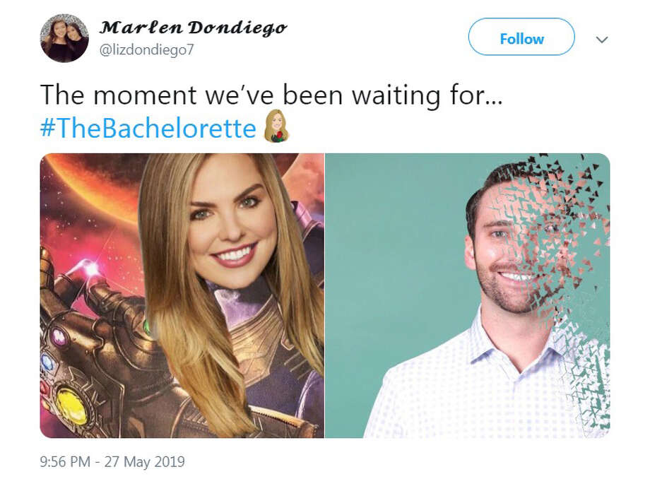 PHOTOS: The best reactions to the latest episode of The Bachelorette The best Twitter reactions to Episode 3 of ABC's The Bachelorettte, which aired Monday, May 27, 2019. Browse through the photos above for a look at some of the Internet's best reactions to the latest episode of The Bachelorette ... Photo: Twitter.com/lizdondiego7