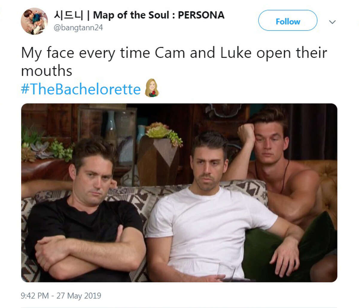 The best Twitter reactions to Episode 3 of ABC's The Bachelorettte, which aired Monday, May 27, 2019.