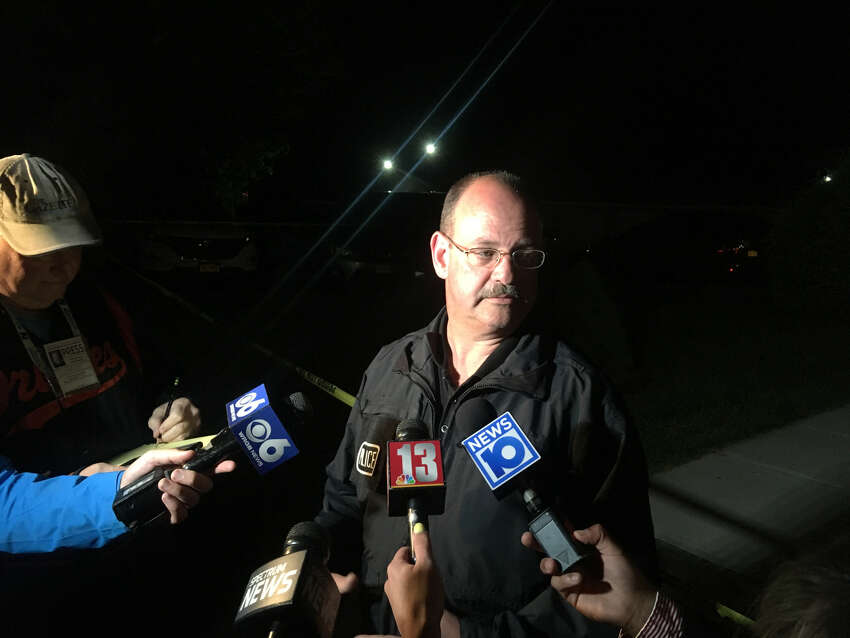 Niskayuna Police Chief Daniel McManus addresses the media Sunday night after a woman was shot at the Hillcrest Village West apartment complex on Monday, May 27, 2019.