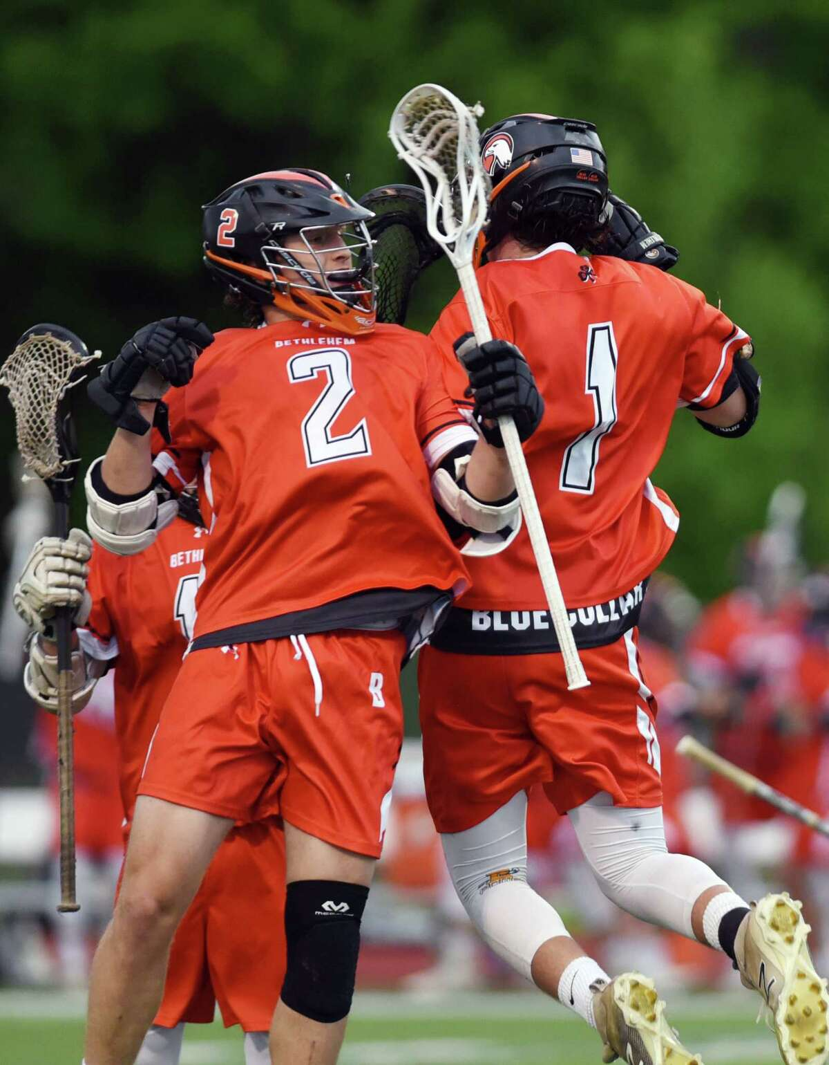 Bethlehem attack Liam Ferris celebrates scoring a goal during the Class A boys' lacrosse final on Friday, May 24, 2019 at Columbia High School in East Greenbush, NY. (Phoebe Sheehan/Times Union)