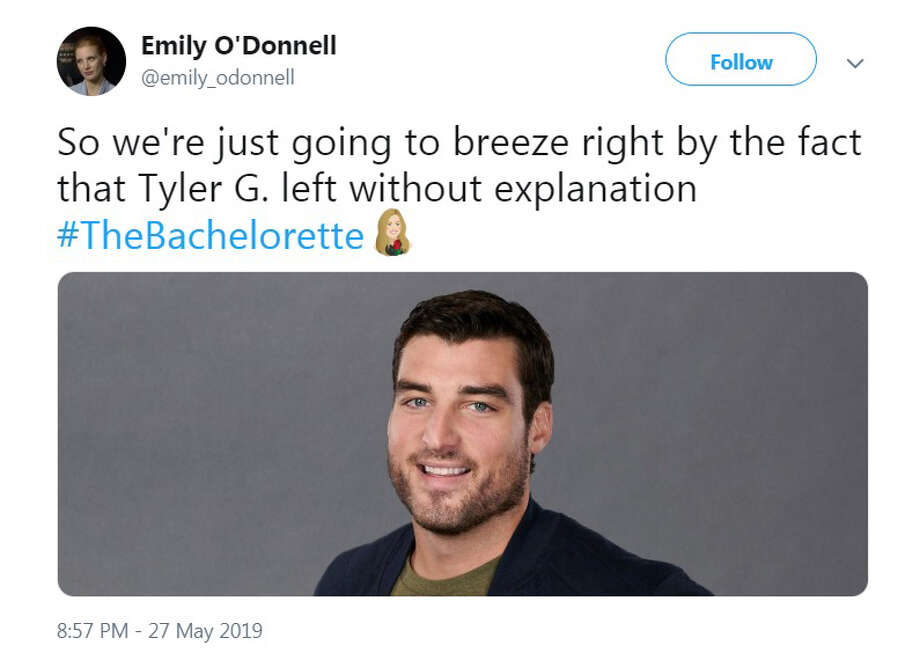 The best Twitter reactions to Episode 3 of ABC's The Bachelorettte, which aired Monday, May 27, 2019. Photo: Twitter.com/emily_odonnell