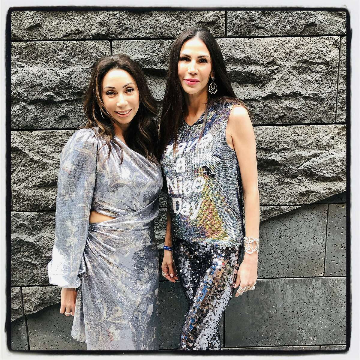 Art Bash committee member Gina Peterson (left) and Nicole Jacob at SFMOMA. May 22, 2019.