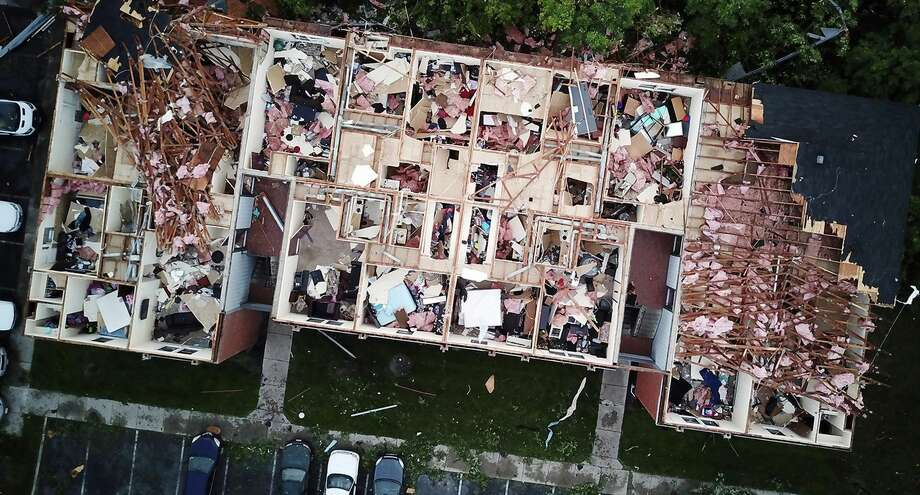 This aerial photo shows tornado damage at the Westbrooke Village Apartment complex in Trotwood, Ohio, Tuesday, May 28, 2019. (Doral Chenoweth III/The Columbus Dispatch via AP) Photo: Doral Chenoweth III/AP