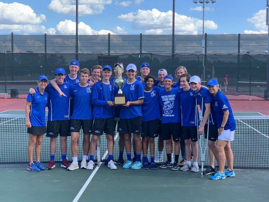 The Houston Christian boys tennis team repeated as Southwest Preparatory Conference champions with a 3-2 victory against Episcopal School of Dallas in the tournament final. The Mustangs finished undefeated in nine SPC matches. Photo: Houston Christian High School / Houston Christian High School