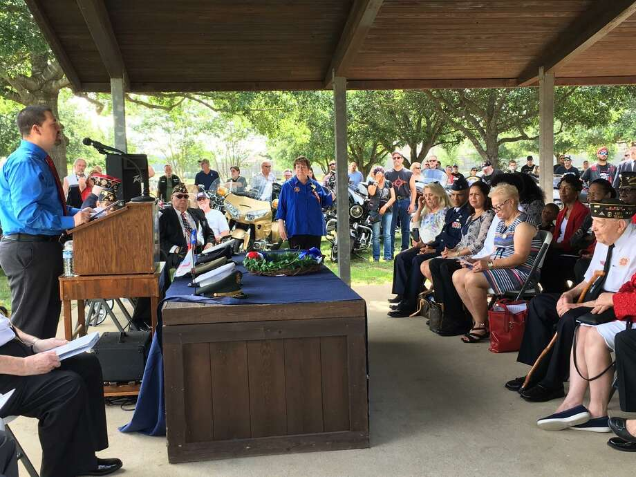 Katy City Councilman At Large Chris Harris, at left, was the guest speaker at the May 27 Memorial Day program at Magnolia Cemetery. Photo: Karen Zurawski / Karen Zurawski