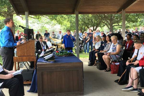 Katy City Councilman At Large Chris Harris, at left, was the guest speaker at the May 27 Memorial Day program at Magnolia Cemetery.