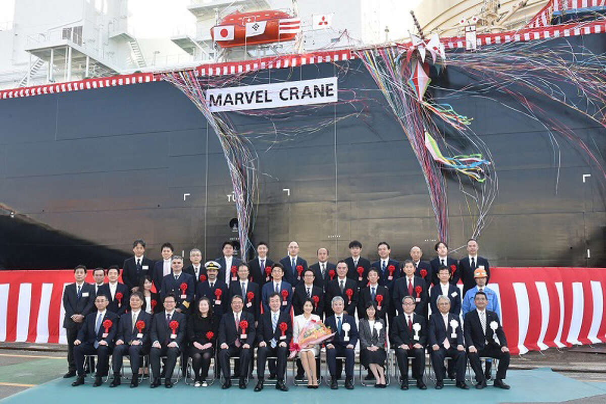 The naming ceremony for the liquefied natural gas tanker the Marvel Crane was held in Nagasaki, Japan on Feb. 21. Owned by the Japanese shipping company NYK Line, the Marvel Crane will charter to Mitsui & Co. under a long-term contract for the recently completed Cameron LNG export terminal in Louisiana.