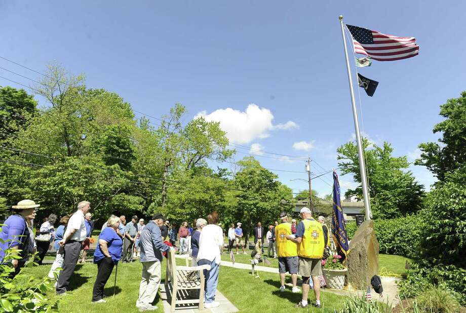 Veterans, state and local officials and families gather for a Memorial Day ceremony at the Veterans of Foreign Wars Memorial on May 25, 2019 in Greenwich, Connecticut. The event was hosted by the Cos Cob VFW Post 10112. Photo: Matthew Brown / Hearst Connecticut Media / Stamford Advocate