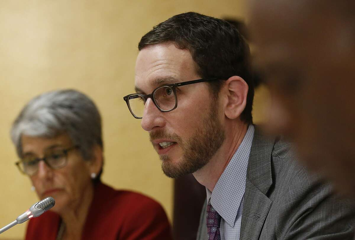 California state Sen. Scott Wiener, D-San Francisco speaks at a Senate Public Safety Committee hearing Tuesday, April 23, 2019, in Sacramento, Calif. Wiener's controversial proposal to increase housing near transportation and job hubs faces a key test Wednesday, April 24, 2019, as California lawmakers search for solutions to the state's housing affordability crisis. (AP Photo/Rich Pedroncelli)