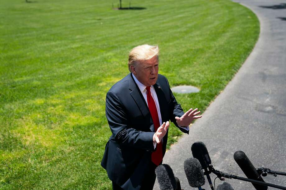 President Donald Trump speaks to reporters as he departs the White House in Washington, May 24, 2019. The White House will soon complete the rollback of the most significant federal effort to curb greenhouse-gas emissions and policymakers are seeking to undermine or discard research showing the most dire risks of inaction on climate change. (Doug Mills/The New York Times) Photo: Doug Mills, NYT