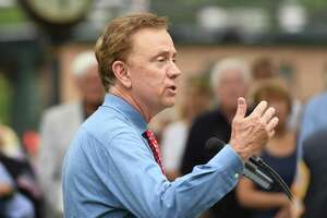 Gov. Ned Lamont speaks at the annual Memorial Day Parade in the Glenville section of Greenwich on May 26.