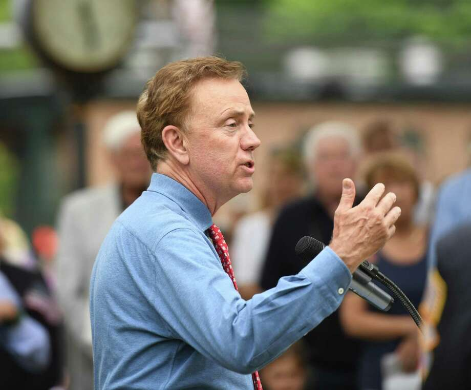 Connecticut Gov. Ned Lamont speaks at the annual Memorial Day Parade in the Glenville section of Greenwich on May 26. Photo: Tyler Sizemore / Hearst Connecticut Media / Greenwich Time