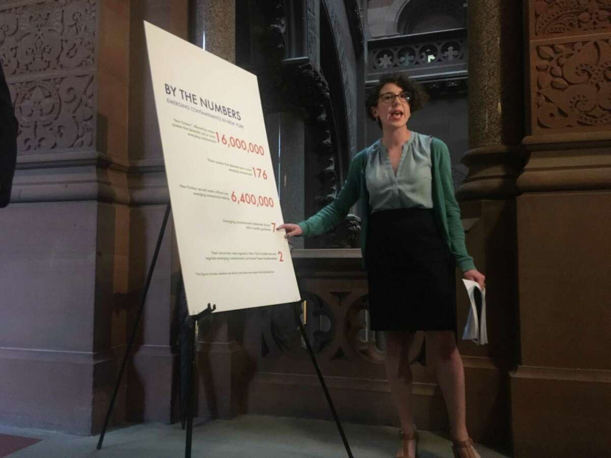 NYPRIG environmental policy director Liz Moran makes the case for stricter water quality standards in New York during a press conference in the Capitol on Tuesday, May 28 (David Lombardo / Times Union)