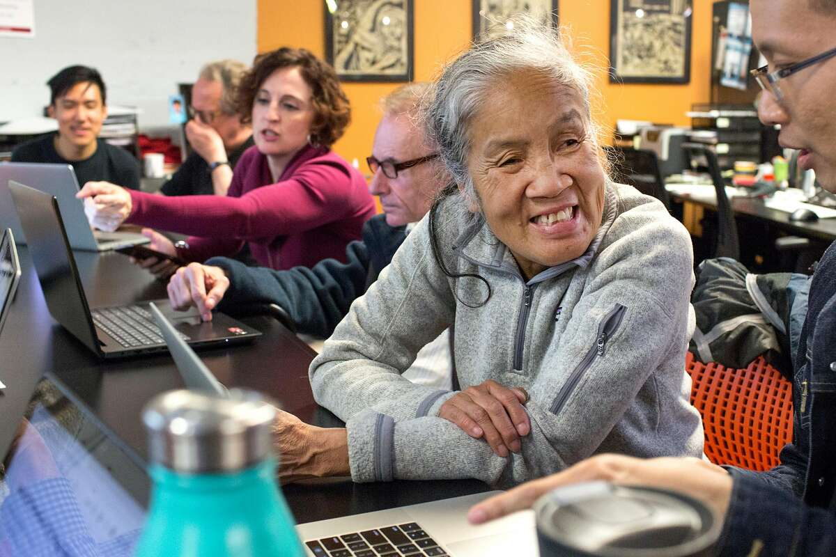 Marilyn Chan, Community Representative who lives in Tenderloin, attends Datathon, an event initiated by nonprofit Shelter Tech during which volunteers work alongside homeless and formerly homeless people to verify and expand its database of services available for homeless people. At Intersection for the Arts on Tuesday, May 21, 2019. San Francisco, Calif.