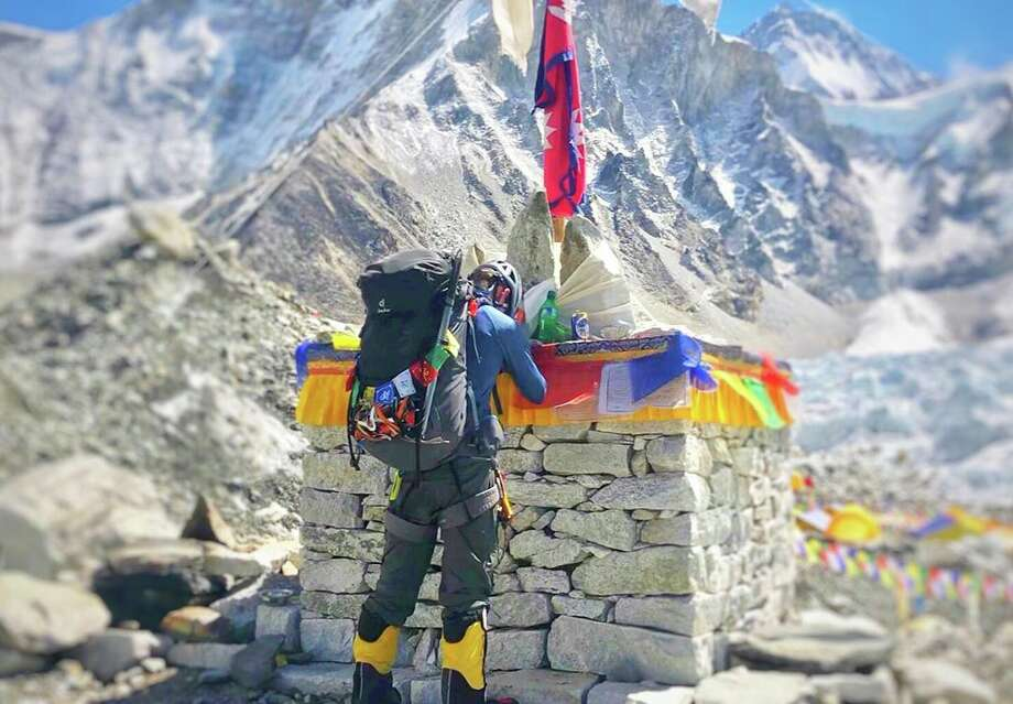 Woody Hartman at base camp before ascending to the summit of Mount Everest in May 2019.