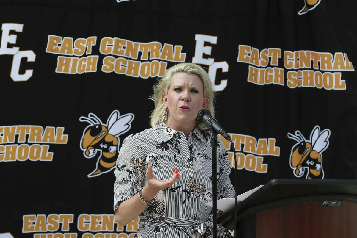 The Centers for Applied Science and Technology, (CAST) Chairwoman Kate Rogers speaks during a press conference announcing a new CAST high school in the East Central Independent School District, Tuesday, May 28, 2019. CAST Lead will open to all Bexar County students in fall 2020. It will be a leadership school focused on several high demand job sectors, district leaders said. H-E-B and the Charles Butt Foundation donated $2 million for the school