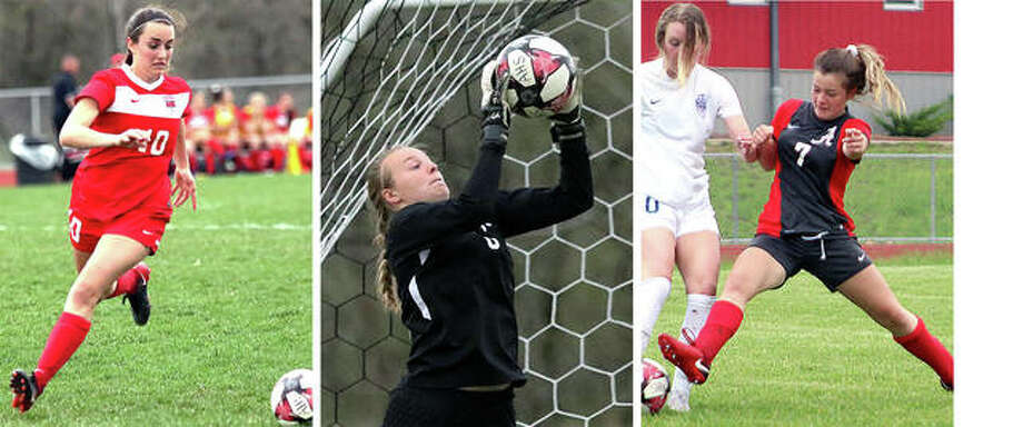 Alton High's Calista Cox, left, Addison Miller, center, and Alaina Nasello have been named to the Illinois High School Soccer Coaches Association Section 12 All-Sectional Team. Photo: Telegraph File Photos