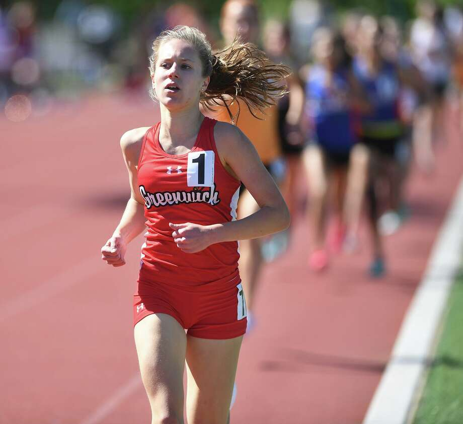 Greenwich's Mari Noble wins the 1600 meters at the FCIAC Outdoor Track and Field Championship at Southern Connecticut State University in New Havenon May 21. Photo: Brian A. Pounds / Hearst Connecticut Media / Connecticut Post