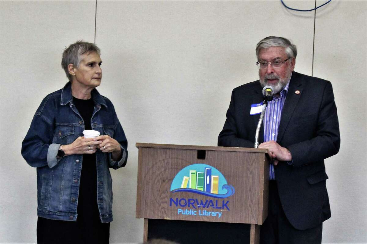 Leslie Burger, the founding partner of Library Development Solutions, and Alex Knopp, the chair of the Norwalk Library Board of Trustees discuss new plans for the library at a public hearing on Tuesday, May 28, 2019.