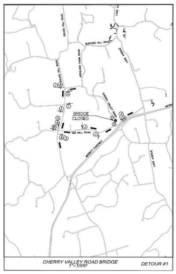 This map shows the detour for the bridge replacement project on Cherry Valley Road. Photo: Town Of Greenwich