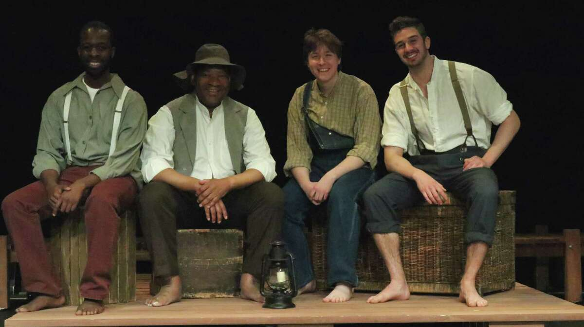 """Curtain Call's production of """"Big River"""" will be onstage at Stamford's Kweskin Theatre, June 7-29. From left, taking a break from rehearsal, are Levy Brunette and David Tate (who share the role of Jim), and Sam Ruck and Kevin Sell (who share the roles of Huckleberry Finn and Tom Sawyer)."""