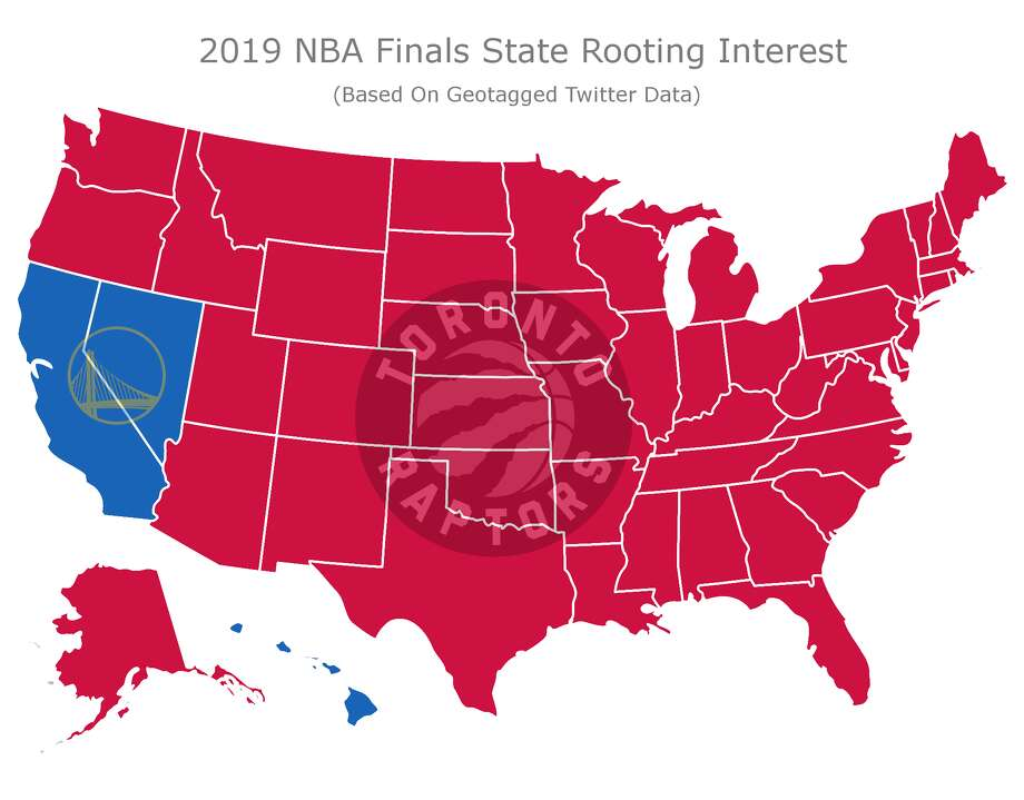 A map based on geotagged Twitter data shows who America is rooting for in the 2019 NBA Finals. Photo: BetOnline