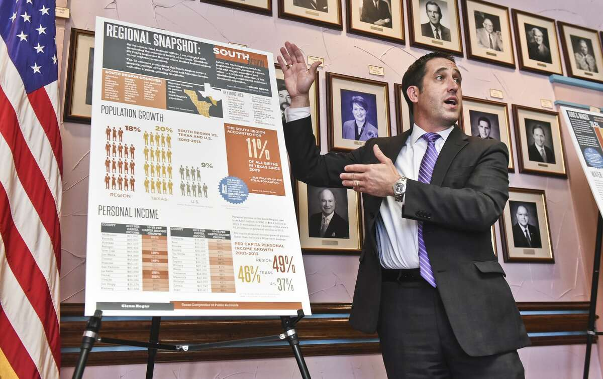 Texas Comptroller Glenn Hegar speaks about the future of the South Texas Region's economy at the Laredo Chamber of Commerce, during his Good For Texas Tour. State spending must be controlled before tax costs can be cut.