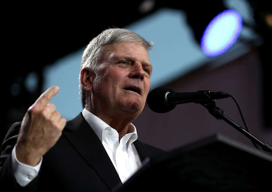 "Rev. Franklin Graham speaks during Franklin Graham's ""Decision America"" California tour at the Stanislaus County Fairgrounds on May 29, 2018 in Turlock, California. Rev. Franklin Graham is touring California for the weeks leading up to the California primary election on June 5th with a message for evangelicals to vote. (Photo by Justin Sullivan/Getty Images) Photo: Justin Sullivan / Getty Images / 2018 Getty Images 2018 Getty Images"