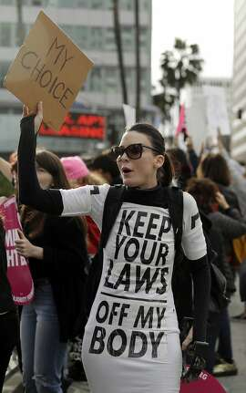FILE - In this Tuesday, May 21, 2019 file photo, a demonstrator shouts slogans during a rally in support of abortion rights in Los Angeles. (AP Photo/Marcio Jose Sanchez)