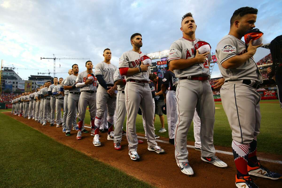 PHOTOS: 2019 Astros game-by-game WASHINGTON, D.C. - JULY 17: American League players stand on the base path during the nation anthem before the 89th MLB All-Star Game at Nationals Park on Tuesday, July 17, 2018 in Washington, D.C. (Photo by Adam Glanzman/MLB Photos via Getty Images) >>>See how the Astros have fared so far this season ...