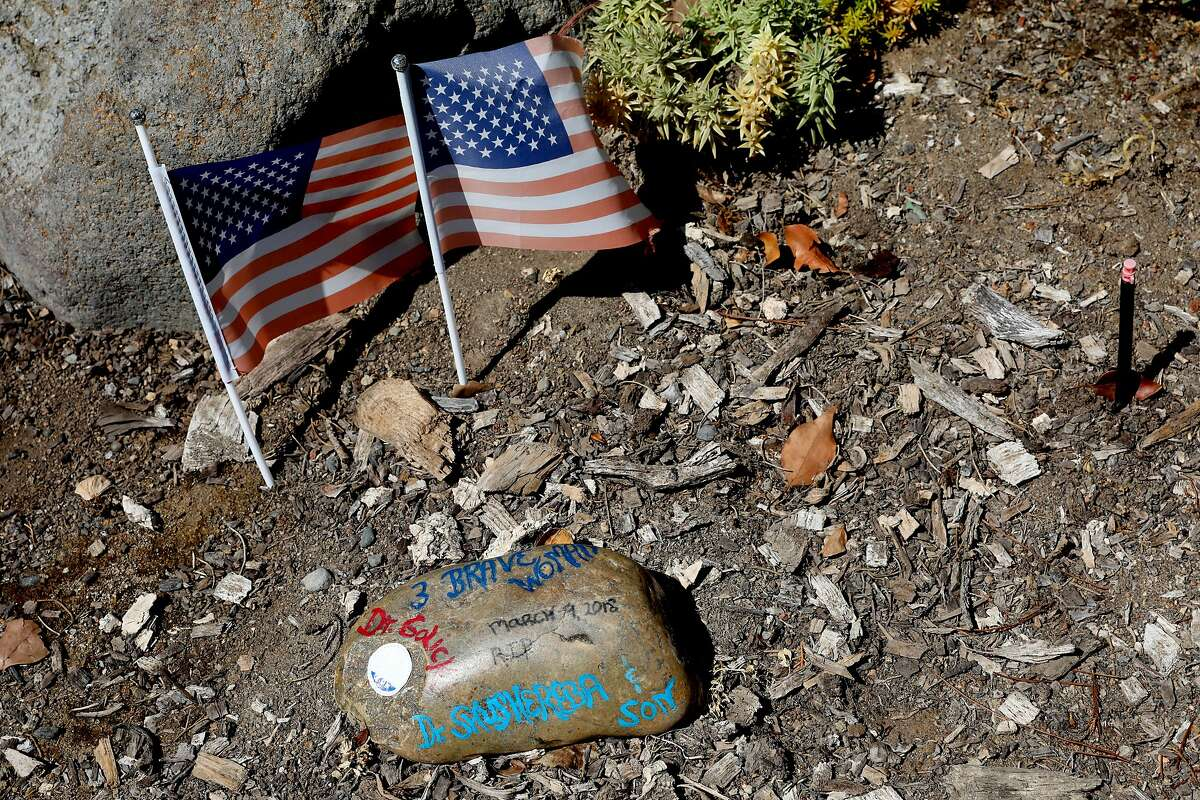 A tribute is left for victims killed four months ago during a shooting that occurred at the Pathway Home in Yountville, Cali. on Friday, July 20, 2018. The Martinez VA is partnering with the Pathway Home to continue treating their patients after its closure.