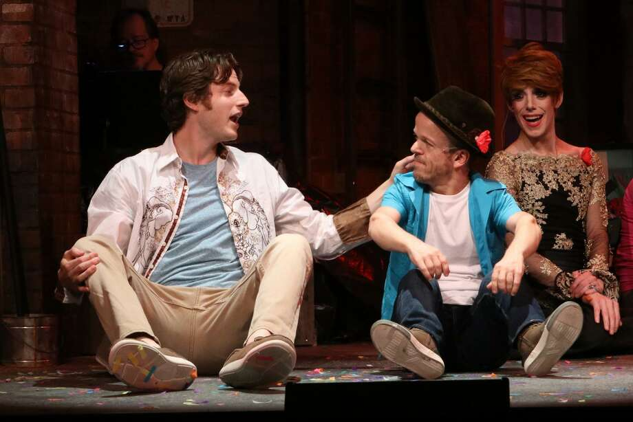 "GODSPELL AT IVORYTON: From left, Sam Sherwood, Josh Walker and Sam Given star in ""Godspell"" at Ivoryton Playhouse through June 16. The show opened off-Broadway in 1971 where it ran for 2,214 performances. After transferring to Broadway in 1976, ""Godspell"" continued its run for an additional 527 performances and became a popular movie in 1973. It ran previously at Ivoryton in 1974. Tickets are at 860-767-7318 or  www.ivorytonplayhouse.org. Photo: Jacqui Hubbard / Contributed Photo"