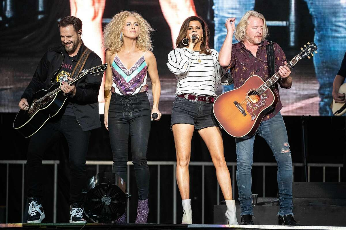 Jimi Westbrook, Kimberly Schlapman, Karen Fairchild, and Philip Sweet of Little Big Town perform during KAABOO Texas at the AT&T Stadium on May 12, 2019 in Arlington, Texas.