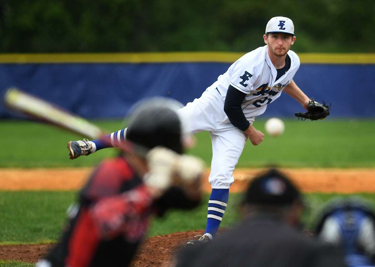 Fairfield Ludlowe's Chris Benton delivers to the plate in the third inning against Fairfield Warde in a first-round Class LL state tournament game on Tueaday in Fairfield.