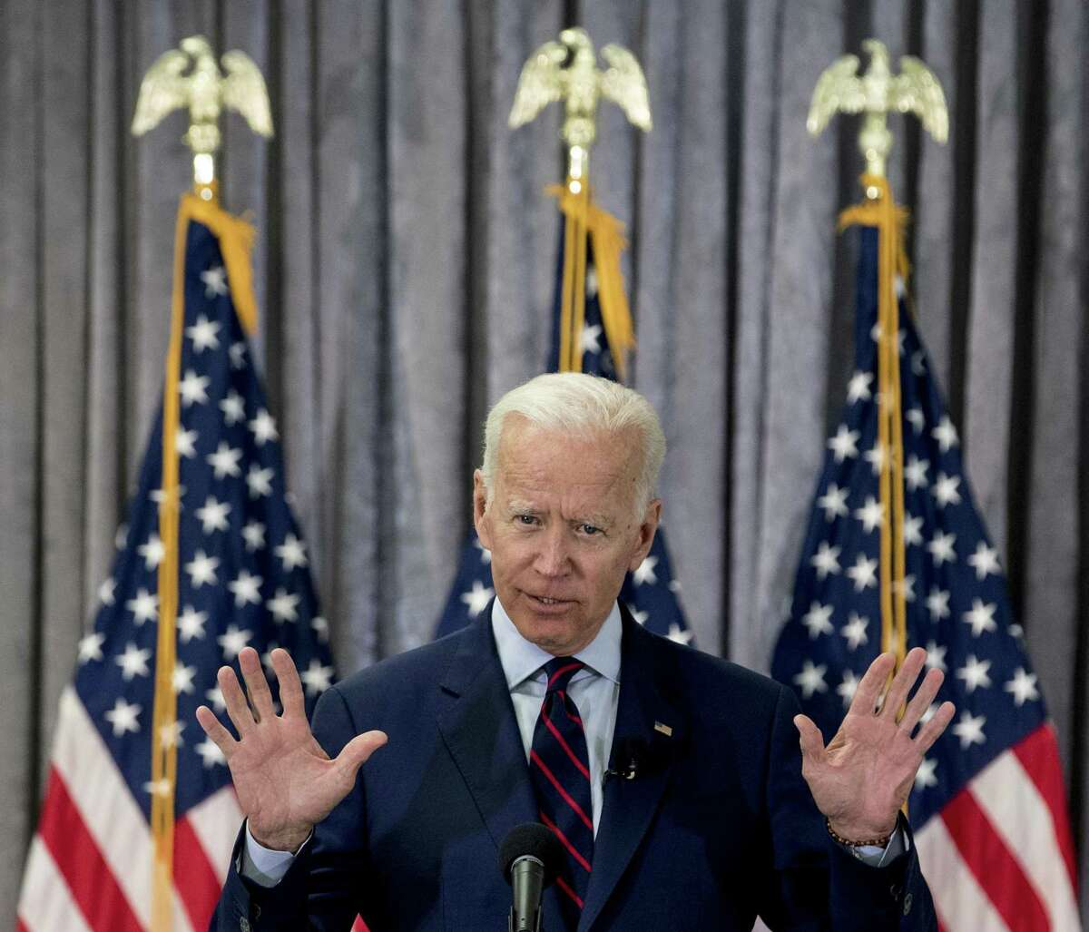 Former Vice President Joe Biden, pictured at a town hall in Houston May 28, 2019, on Monday endorsed Texas House candidate Eliz Markowitz.