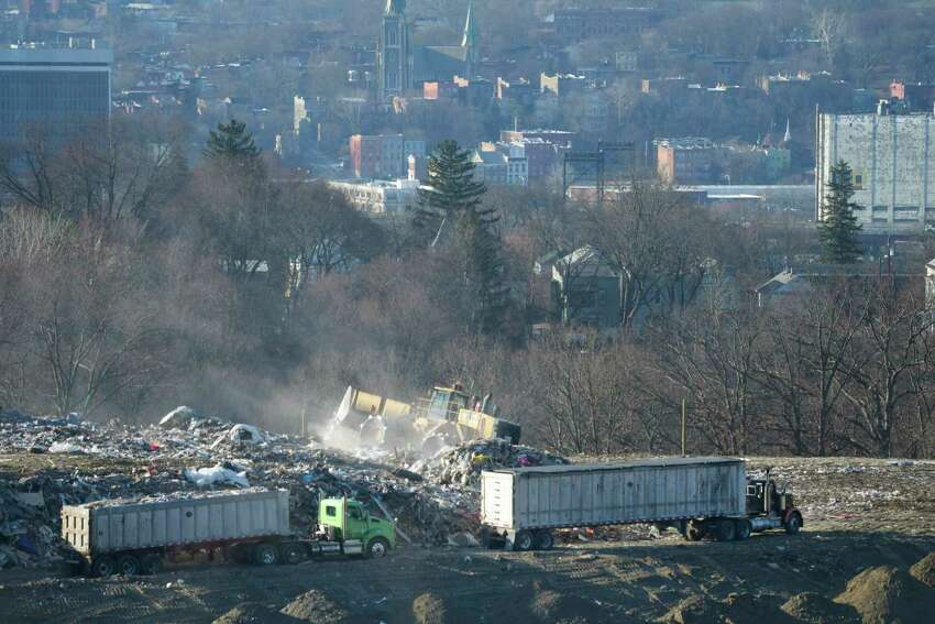 A view of work being done at the Dunn C&D Landfill on Monday, Jan. 14, 2019, in Rensselaer, N.Y. The city of Albany is seen in the background. (Paul Buckowski/Times Union)
