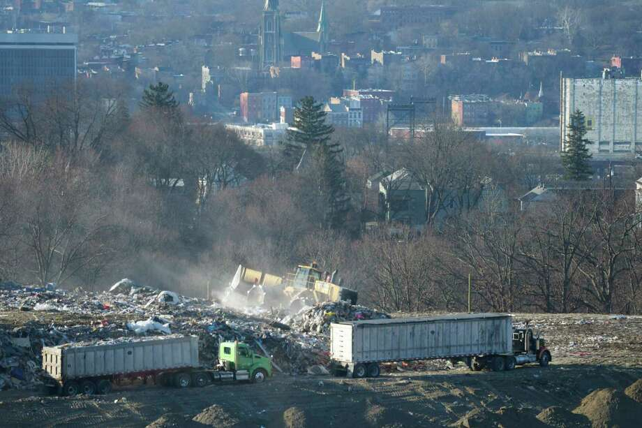 A view of work being done at the Dunn C&D Landfill on Monday, Jan. 14, 2019, in Rensselaer, N.Y. The city of Albany is seen in the background.    (Paul Buckowski/Times Union) Photo: Paul Buckowski / (Paul Buckowski/Times Union)